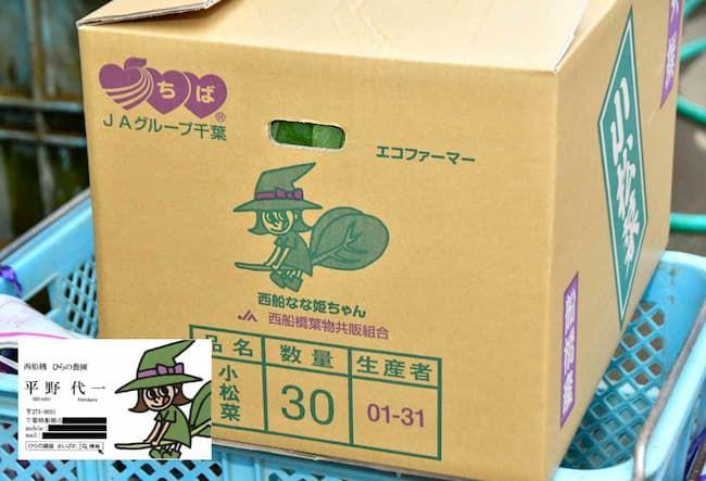 「西船なな姫ちゃん」の出荷用ダンボールと平野さんの名刺