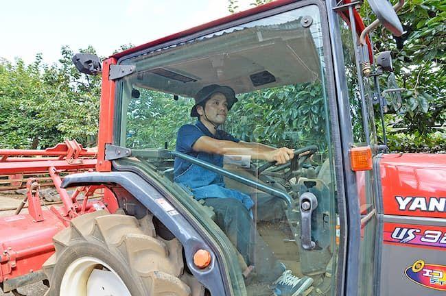 新座市 廣谷農園 トラクターに乗る廣谷智史さん