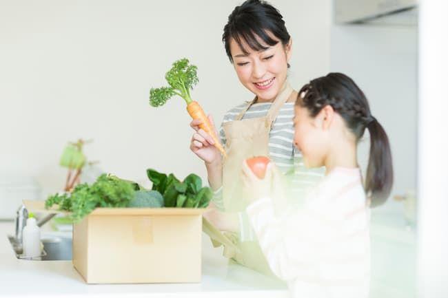 野菜を受け取る親子