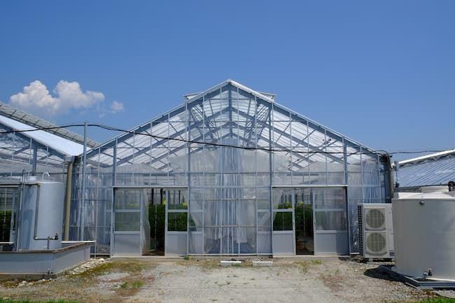 ボイラーやカーテン、天窓を備えたガラスハウス