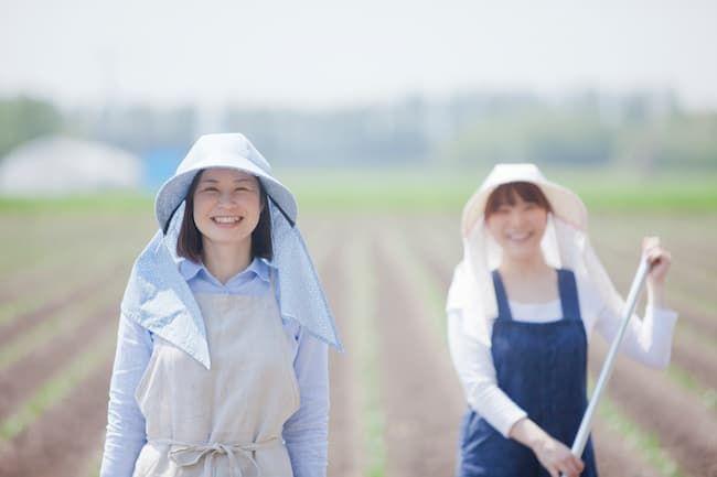 フードタイプの農作業帽