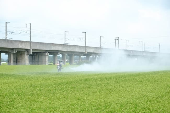水田の農薬散布