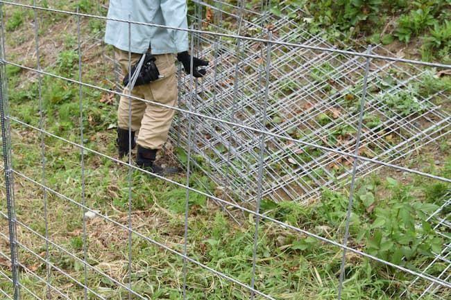 ワイヤーメッシュの防護柵設置