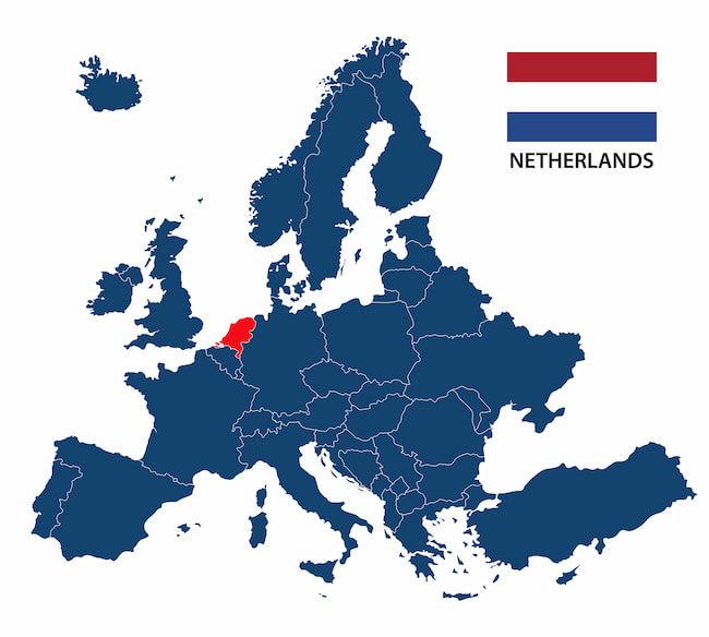 欧州地図とオランダの位置
