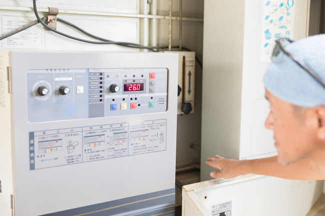 籾乾燥機の温度と時間の調整