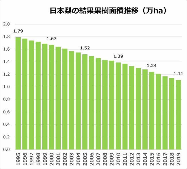 日本梨の結果果樹面積推移
